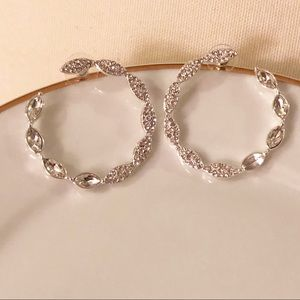 Silver-tone Circular Crystal Earrings